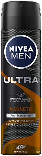 NIVEA MEN ULTRA Magnetic Intense Espresso Deo Spray (150 ml), Anti-Transpirant für ein trockenes Hautgefühl, Deodorant mit 48h Schutz und maskulinem Duft