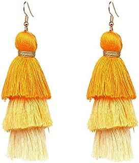 1set 3 Layered Womens Stylish Earrings Bohemian Style Summer Tassel Drop Earring