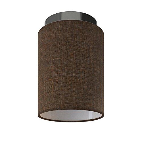 Fermaluce: wand- of plafondspot in zwart parel metaal met bruine Camelot Cilinder Lampenkap Ø 15 cm h18 cm