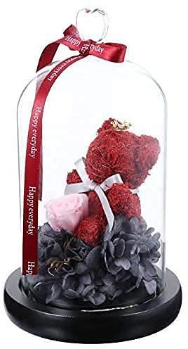 La Bella y la Bestia Rosas Flor Artificial Rosa en una cúpula de Cristal Regalos de cumpleaños para Mujeres Boda de Navidad Día de San Valentín Decoración de bonsáis Rojos