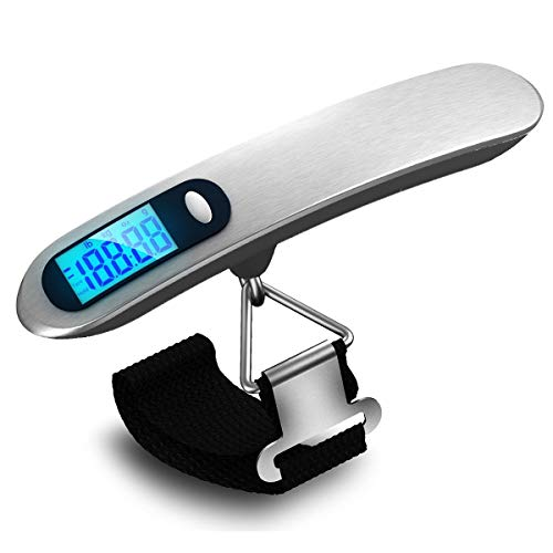 Electronic Luggage Scale, Portable Electronic Scale for Airplane Travel, Hand Luggage Scale, Weighing 110 lbs / 50 kg, with Backlight, Light Weight, Suitable for Travel and Heavy Loads
