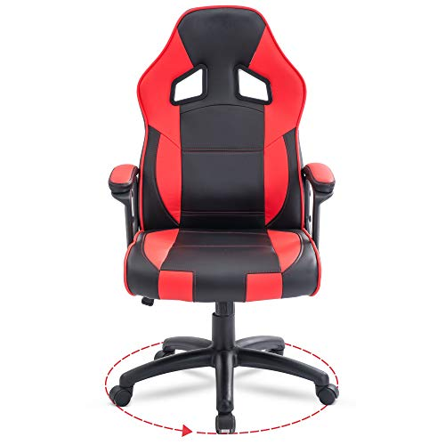 Executive Office Desk Chair Swivel PC Computer Office Desk Chairs with Arms and Back Support for Home & Office & Gaming Chair Use for Adults Black Red