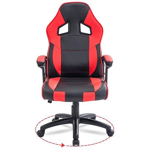 Chefsessel Bürostuhl Drehstuhl PC Computer Büro Schreibtischstühle mit Armlehnen und Rückenstütze für Zuhause & Büro & Gaming Stuhl Verwendung für Erwachsene Schwarz Rot