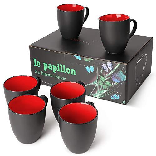 MIAMIO - 6 x 350 ml Kaffeetassen/Kaffeebecher Set Außen Schwarz Innen Farbig (Rot)