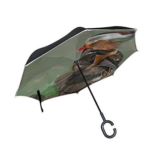 Doppelschicht-Umkehrreversionsschirm für Kinder Mandarinenente V Schwimmen in einem Teich Umgekehrter Regenschirm für Männer Regenschirm Kinderklappbarer winddichter UV-Schutz für Regen mit C-förmige