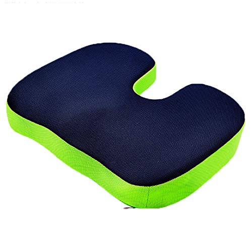 Seat Cushion Pillow for Office Chair - Memory Foam Coccyx Pad for Sitting - Contoured Posture Corrector for Sciatica,Tailbone Pain Relief - Washable Cover-Navy Blue & Green