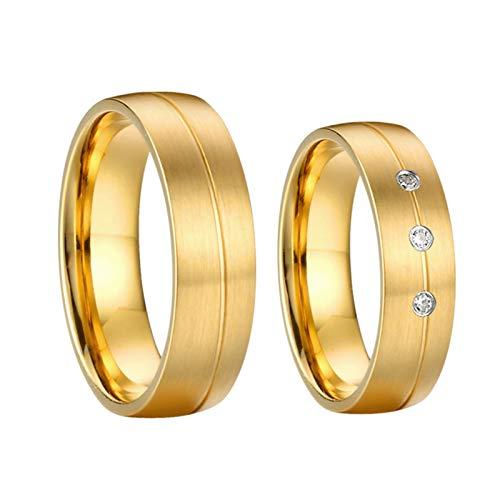 TLBB 1 par de Aros de Boda de Matrimonio Chapado en Oro de 18 quilados para Parejas Anillo de Dedo de la joyería de Acero Inoxidable (Gem Color : P1411, Metal Color : Women Size 10)