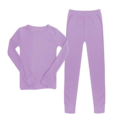 The Popular Store Girl's Cotton Waffle Thermal Long Sleeve and Leggings Set - Lavender - M (7/8)