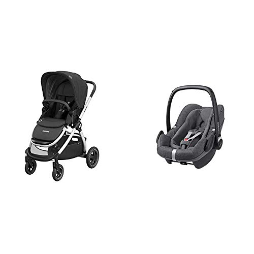 Maxi-Cosi Adorra Baby Pushchair, Comfortable and Lightweight Stroller with Shopping Basket, 0 Months - 3.5 Years, 0-15 kg, with Group 0+, ISOFIX Seat, 0-12 m, 0-13 kg, 45-75 cm, Sparkling Grey
