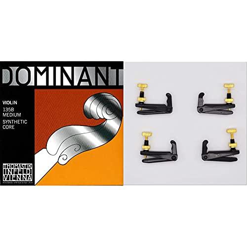 Dominant Strings 135B Set Corde Per Violino 4/4 & Soundman 4/4 Tiracantino In Ottone Per Violino Intero (4/4) Così Come Per Violino A 3/4. Accordare Con I Tiracantini. Set Da 4 Pezzi, Nero