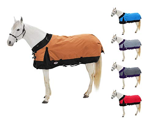 """Derby Originals WindStorm 1200D Ripstop Waterproof Winter Heavyweight Horse Turnout Blanket with 300g Insulation and Two Year Warranty, 69"""", Orange"""