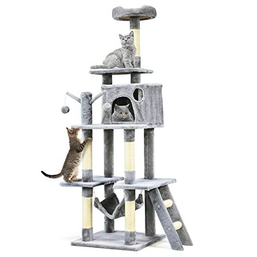 COSTWAY Cat Tree, Multi-level Cats Tower with Hammock, Condo, Scratching Posts, Perches and Ladder, Kittens Activity Centre for Climbing, Scratching, Sleeping (Grey)