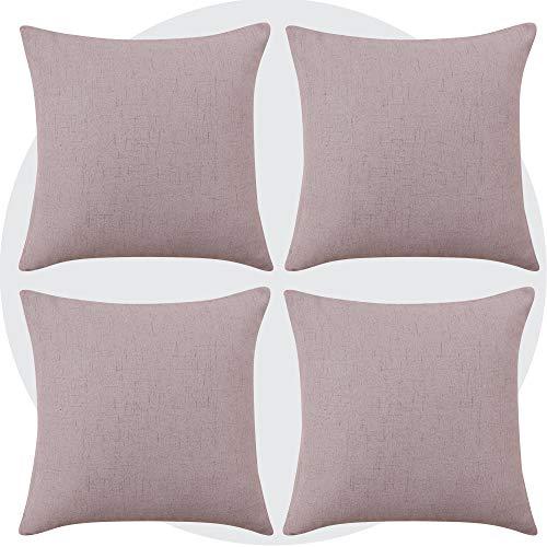 Deconovo Set di 4 Pezzi Federe per Cuscini Fodera Cuscino Decorativo Quadrato per Divano Auto 40x40 CM Rosa