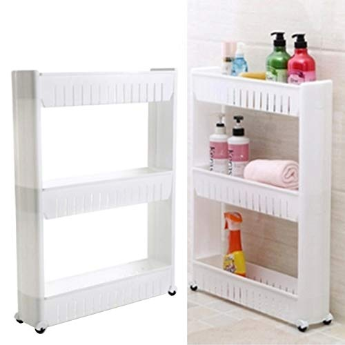 The Fellie Storage Trolley Cart Slim Slide out Rolling Cart Movable 5 Tier Trolley Organizer Shelf Rack for Bathroom Kitchen and Office