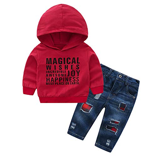 Baby Born Kleidung Set,Yanhoo Jumpsuit Kapuzenpullover Overall Baby Unisex Kleidung Babykleidung Jungen Mädchen Cartoon Brief Print Tops +Hosen Outfits 2pcs Set Kleidung