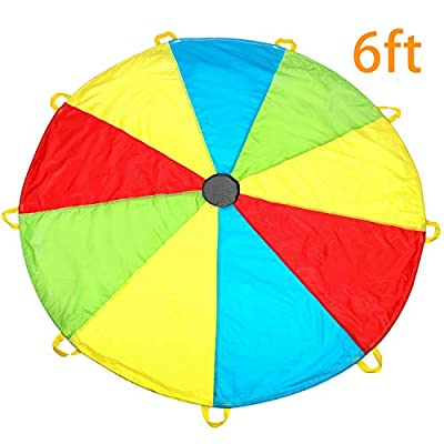 MountRhino Kids Parachute, Play Parachute with Handles - Multicolored Parachute for Kids,Kids Play Parachute for Indoor Outdoor Games Exercise Toy from MountRhino