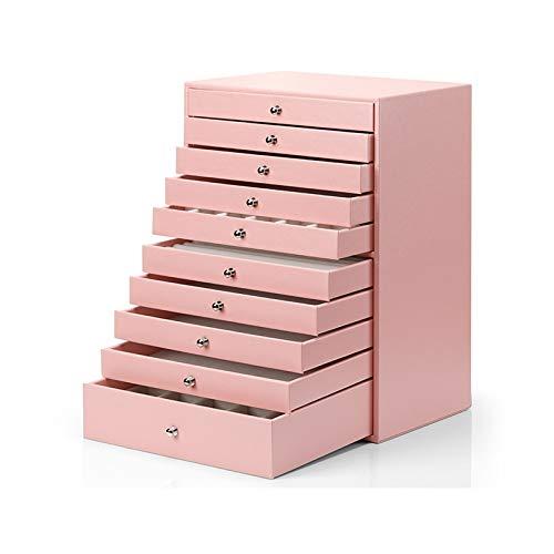 Joyero Organizador de Joyas Caja de almacenamiento de gran caja de joyería / Organizador / Falso caso de cuero de la manija de almacenamiento caja del cajón Tipo de la joyería, 10 Capa, regalo for las