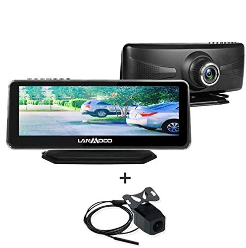 """LANMODO Car Night Vision Front and Rear Dual Camera,Waterproof 8.2"""" HD Screen 1080P Full-Color Image Active Infrared Backup Camera Sony DSP Chip Inside,Night View Distance up to 984 ft/300M"""