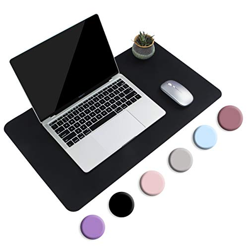Non-Slip Desk Pad, Waterproof PVC Leather Desk Table Protector, Ultra Thin Large Mouse Pad, Easy Clean Laptop Desk Writing Mat for Office Work/Home/Decor (60 x 35 cm, Black)