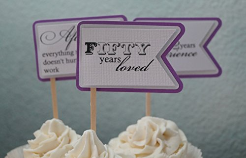 All About Details Purple Grape 50th Birthday Quotes Cupcake Toppers, Set of 12, 1.7in Wide & 2.5in Long