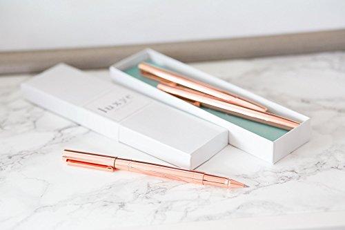 Rose Gold Pens with Rose Gold Pen Cap 3 Piece Pen Set - Rose Gold Metal Pens - Fine Point Black Gel Ink Cap Pens - Rose Gold Office School Wedding Supplies - In White Gift Box for Women Birthdays Photo #3