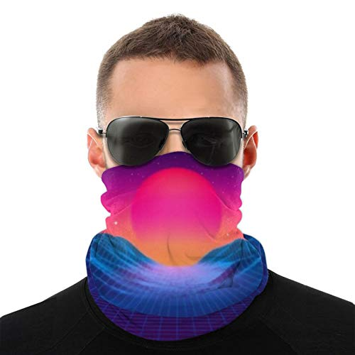 80S Synthwave Styled Landscape With Blue Grid Mountains And Sun Over Arcade Space Planet Canyon Magic Scarf Neck Gaiter, Mouth Nose Shield Breathable Anti Smoke Pollution For Bike Motorcycle Sport