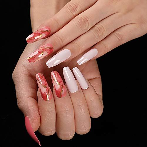 LIARTY 24 piezas de uñas postizas artificiales con pegatinas de pegamento, puntas de uñas postizas de acrílico largo de cubierta completa para mujeres y niñas (Rojo granada)