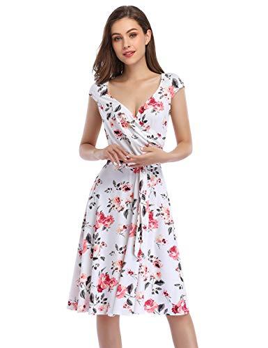 KOJOOIN Damen Vintage V-Ausschnitt Abendkleid ärmellosen Blumen Bestickt knielangen Cocktailkleid Weiß Blumen Floral【EU 34-36】/S
