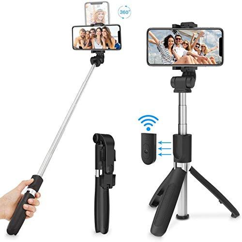 Palo Selfie Trípode, Palo Selfie Stick Bluetooth con Control Remoto, Extensible 3 en 1 Monópode para Apple iPhone XS MAX XR 8 8 Plus 6 6s 7 7plus Android Huawei Samsung Galaxy