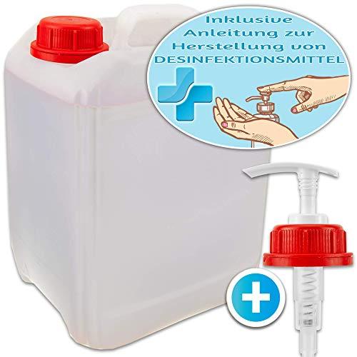 Kanister 5 Liter + Dosierspender für Desinfektionsmittel zum Selbstmachen mit Anleitung – Hausmittel gegen Keime – Hand, Haut, Flächen – auch für Seife, Reinigungsmittel, Öl, Sirup & Getränke