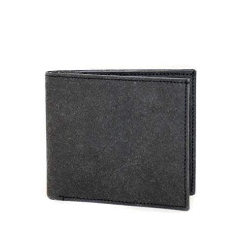 FRITZVOLD Classic Wallet, RFID-Schutz & erweitertes Münzfach, extrem flaches Portemonnaie für Herren, sehr dünner Geldbeutel, Slim Portmonee, Geldbörse aus waschbarem Papier-Kunstleder, schwarz