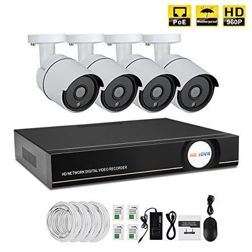 IMATEK Sistema de vigilancia de casa 960P,4CH PoE NVR Kit w / 4PCS 960P Cámaras IP a Prueba de Balas,Sistema de monitoreo Remoto del hogar,NO HDD
