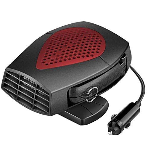 ANJING Calefactor de Coche Portátil 12V/24V, Calefactor Ventilador 2 In 1 con 360 ° Ajustable y Cable 1.5M,12v