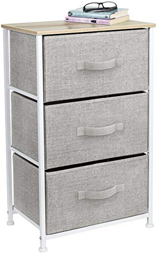 Sorbus Nightstand with 3 Drawers - Bedside Furniture & Accent End Table Storage Tower for Home, Bedroom Accessories, Office, College Dorm, Steel Frame, Wood Top, Easy Pull Fabric Bins (Beige)