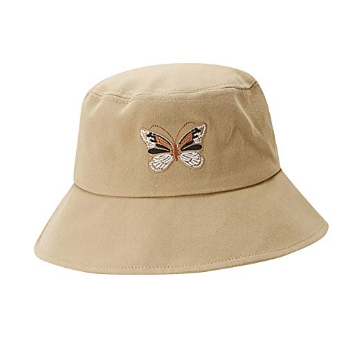 ZHENQIUFA Sombrero Pescador Gorras Moda Mujer Señoras Mariposa Sombrero De Pescador Bordado Simple Visera Gorras Al Aire Libre Casual Sombrero De Sol Cubo Sombreros-Caqui