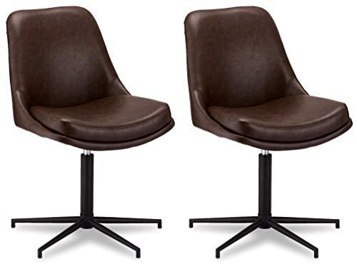 Ibbe Design 2er Set Braun Kunstleder Esszimmerstühle Drehbar Vintage Industrial Küchenstühle mit Armlehnen Jana, Schwarz Metallgestell, L59xB64xH89