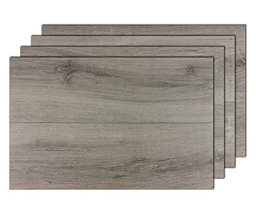 8er Premium Tischsets Holzoptik Landhausdiele Gekalkt Grau | abwaschbar | PVC-CV | je ca. 43,5x28,5cm | je ca. 2,3mm | je ca. 170g | Gastro-Qualität | bazaaro