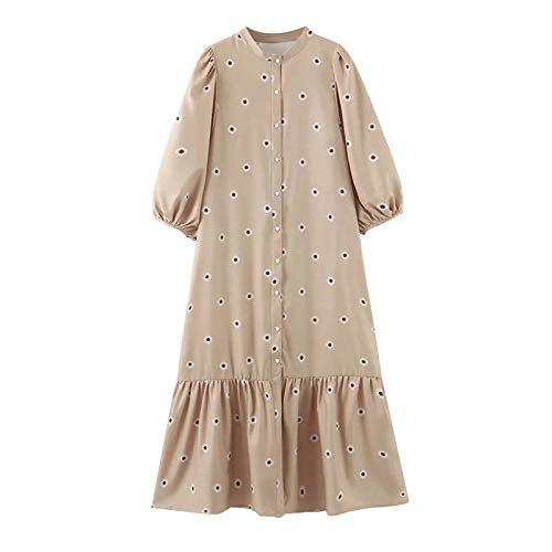 RuaRua Damen Kleid,Lose Drucke O Neck Lantern Midi Kleid Lady Plissee Khaki Kleider, Khaki, M.