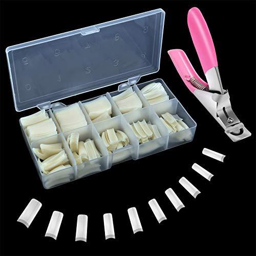 Künstliche Nägel, 500 Stück Fake Acryl Nägel Tips Französisch Falsche Nägel Tipps für Gelnägel mit Box und Falsche Nagelknipser