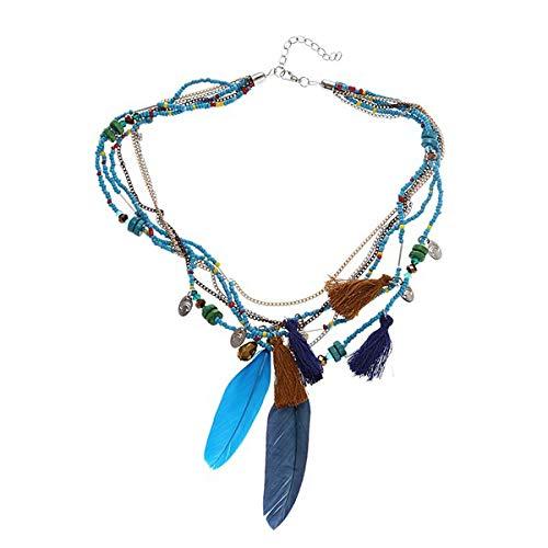 Lopbinte Elegante collar de cadena de varias capas para mujer, estilo étnico, plumas, borlas, color azul