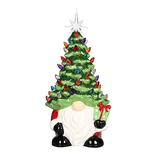 """15"""" Santa Claus Ceramic Christmas Tree with Lights,Tabletop Christmas Decorations Vintage Ceramic Christmas Tree,35 Decorative Lights and 7-Pointed Star Suitable for Christmas Ornaments and Gifts"""