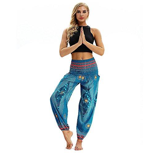 SHOBDW Mujer Hombre Pantalón Capri Moda Casual Suelta Elástica Cintura Pantalones Deportivos Hippy Pantalones de Yoga Baggy Colorido Aladdin Boho Harem(Azul Cielo)
