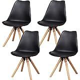 EGOONM Sillas Comedor Pack 6/Pack 4, Nordicas Negro Sillas para Cocina, Oficina, Bar, Sala de Estar-Silla de Cena (Pack 4, Black)