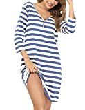 Doaraha Nachthemd Damen Baumwolle 3/4 Arm Schlafshirt Gestreift Nachtkleid Kurz Sleepshirt V-Ausschnitt Geknöpft (Dunkelblau-2, L)