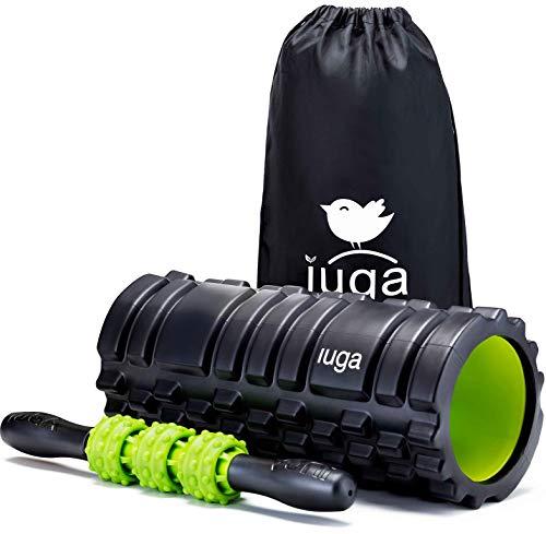 Iuga y la terapia de masaje 2en 1Set, Trigger Point–Liberación miofascial–Rodillo de espuma muscular rodillo para fitness, Crossfit, Yoga y Pilates, negro