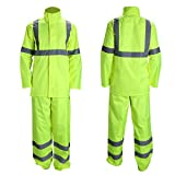 Class 3 High Visibility Rain Suit With Collapsible Hood Lime Reflective Safety Waterproof Worker Jacket & Pants (4XL/5XL Yellow)