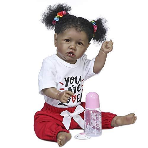 Kokomo 22 inch 55cm Reborn Baby Doll Girls African American Toddler Dolls with Teeth, Silicoine Full Body Black Skin Dolls Waterproof Baby Doll Toy