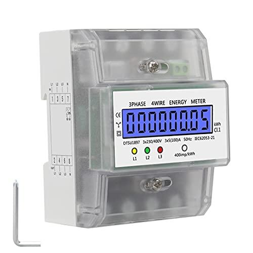220V 5-100A Energieverbrauch Digitaler Stromzähler Jooheli LCD Drehstromzähler 3-Phasen-4-P KWh Zähler mit LCD Zwischenzähler Wechselstromzähler für Leistungsmesssystemen Lieferung mit Schraubendreher