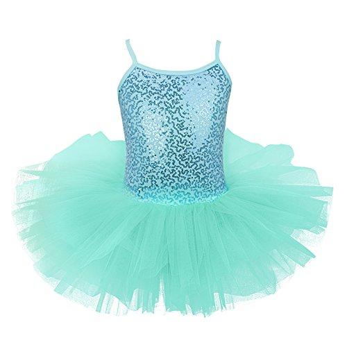 iEFiEL Mädchen Kleid Ballettkleid Kinder Ballett Trikot Ballettanzug mit Tütü Röckchen Pailletten Kleid in Weiß Rosa Türkis Türkis 128-140