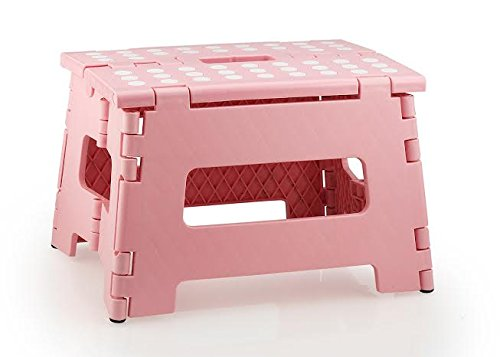 StepSafe? High Quality Non Slip Folding Step Stool For Kids and Adults with Handle- 9 in Height, Holds up to 300 Lb! (pink) by StepSafe
